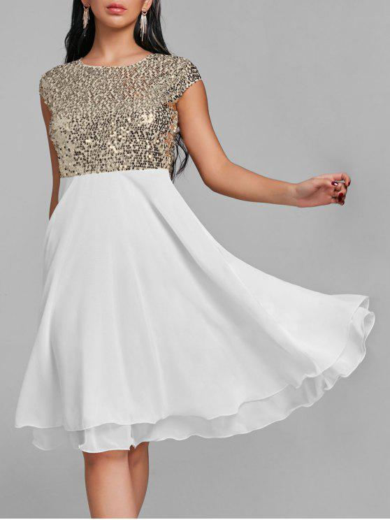 Robe de Cocktail évasée à Paillettes Brillantes - Blanc S