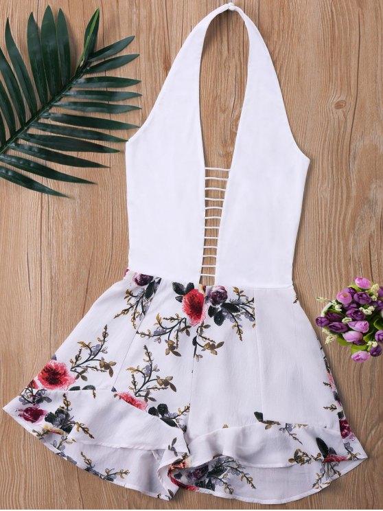 Pagliaccetto con pannello floreale a taglio basso a scaletta - Bianco XL