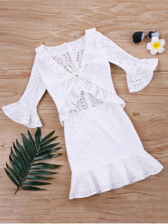 Vestido de ojal con volantes volados - Blanco XL