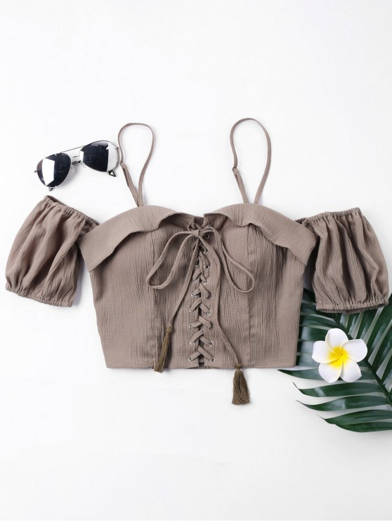 unique Wrinkle Lace Up Crop Blouse - GREYISH BROWN XL