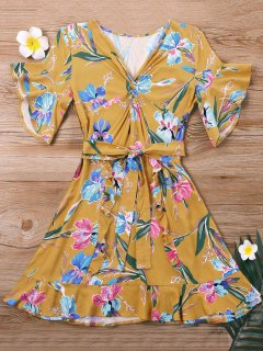 Mini Twist Floral Dress - Yellow Xl
