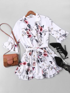 Belted Floral Print Faux Wrap Romper - M