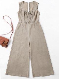 Sleeveless Wide Leg Jumpsuit - Light Khaki L