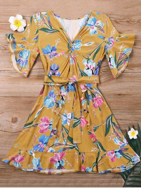 Robe Courte Florale à Ceinture - Jaune L Mobile