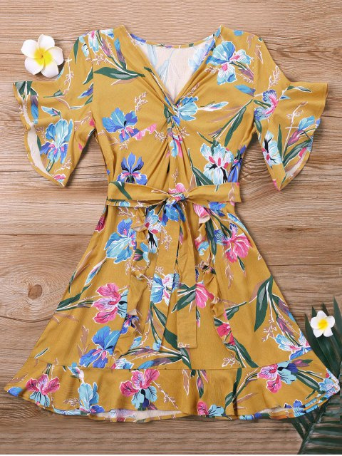 hot Mini Twist Floral Dress - YELLOW XL Mobile