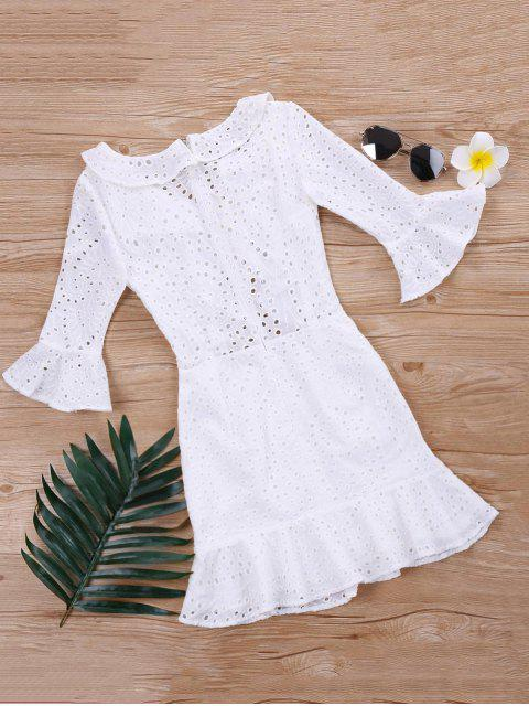 Vestido de ojal con volantes volados - Blanco L Mobile