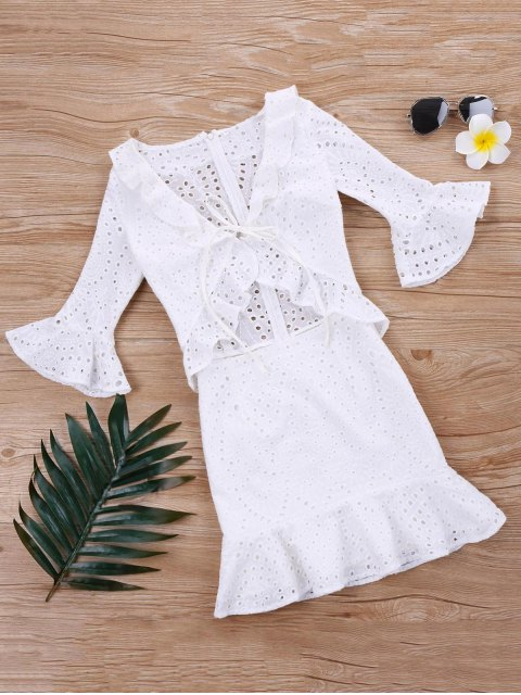 sale Flounce Ruffle Eyelet Dress - WHITE L Mobile