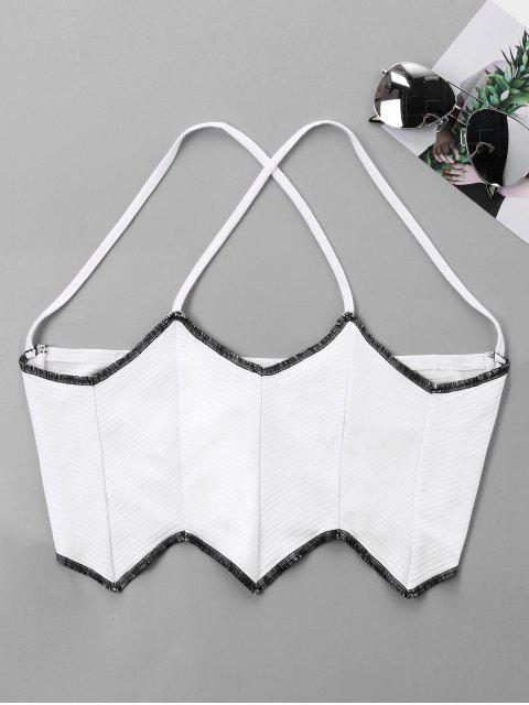 trendy Wave Cut Halter Crop Tank Top - WHITE XL Mobile