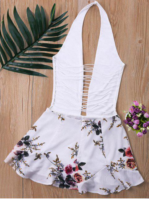 lady Ladder Low Cut Halter Romper - WHITE M Mobile