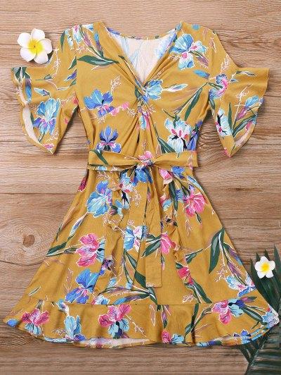 Vestido Floral Mini Twist - Amarelo L