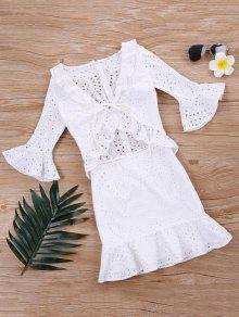 فستان كشكش - أبيض M