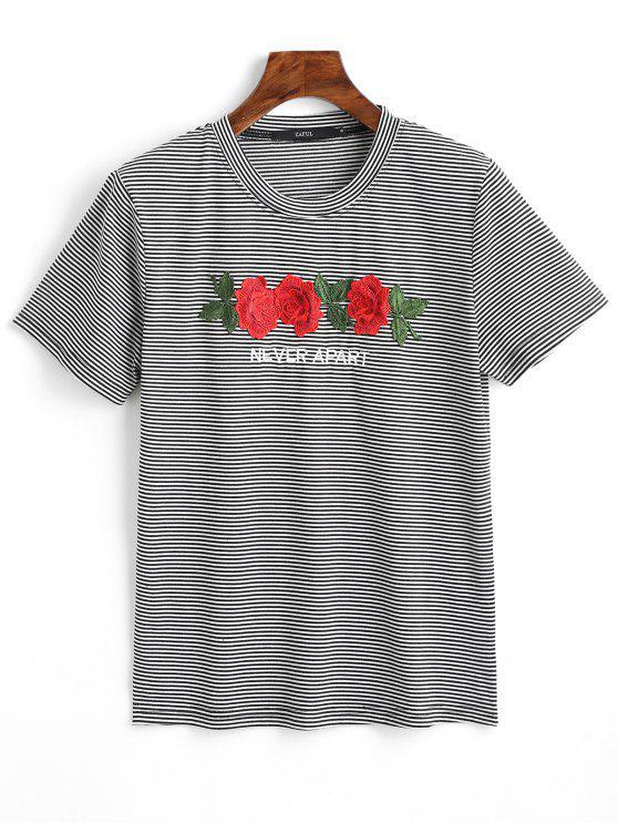 Camiseta estampada a rayas con letras florales - Negro M