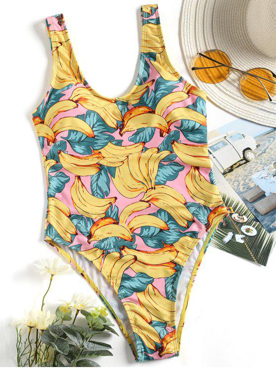 fashion Low Back Banana Print Swimwear - YELLOW S