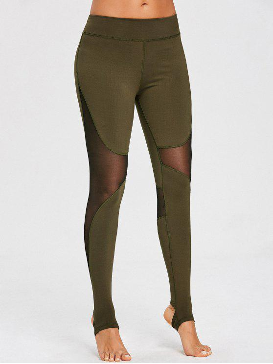 best Mesh Panel Stirrup Sports Leggings - ARMY GREEN L