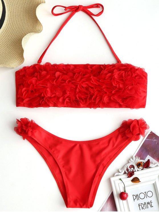 best Stereo Petal Bandeau Bikini Set - RED L