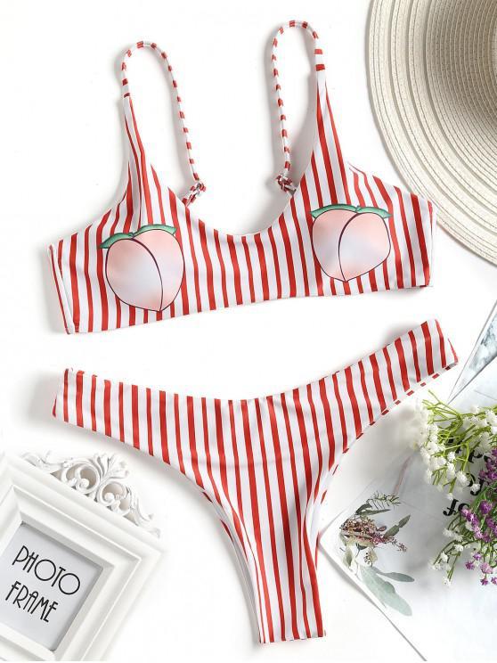 مخطط طباعة الخوخ بيكيني ملابس السباحة - الأحمر مع الأبيض M