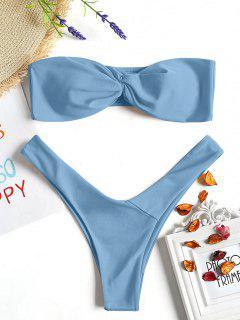 Twist Front Bandeau Thong Bikini - Light Blue S