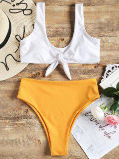 Two Tone High Cut Knotted Bikini Set - White S