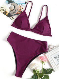 Ensemble Bikini Paddé à Taille Haute - Violacé Rouge M