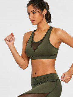 Mesh Panel Sports Bra - Army Green S