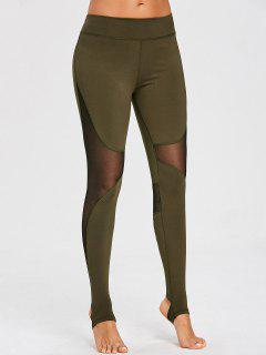 Mesh Panel Stirrup Sports Leggings - Army Green M