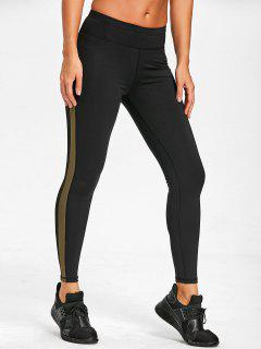 Mesh Insert Sports Leggings - Army Green S