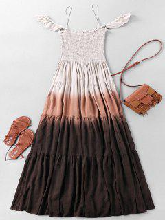 Bohemian Ombre Wrinkle Maxi Tiered Dress - L