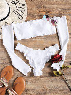 Maillots De Bain Longues Manches En Bikini Avec Epaules Dénudées  - Blanc M