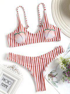 Traje De Baño De Bikini Con Estampado De Melocotón A Rayas - Rojo Con Blanco L