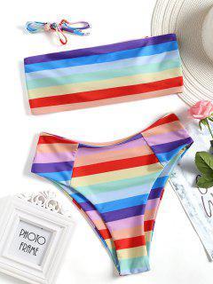 Colorful Bandeau High Cut Bikini Set - M
