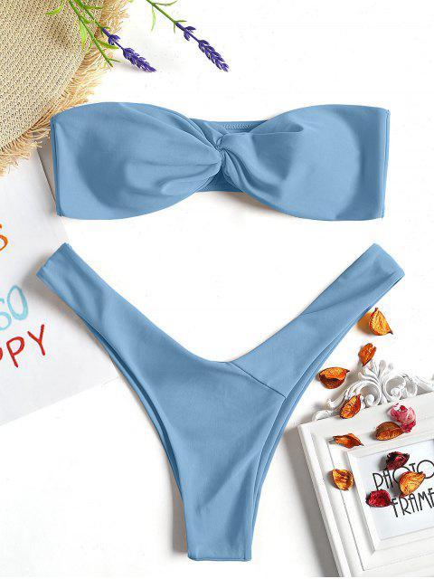 Twist Front Bandeau Tanga Bikini - Hellblau M Mobile