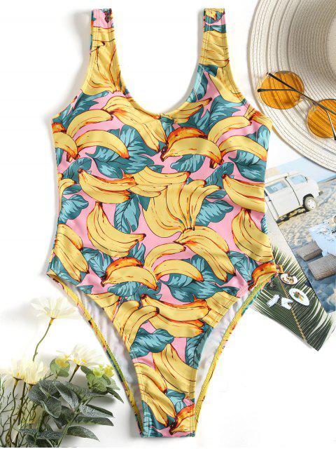 Traje de baño con estampado de plumón y espalda baja - Amarillo L Mobile