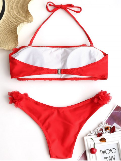 hot Stereo Petal Bandeau Bikini Set - RED M Mobile