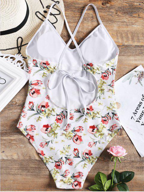 Traje de baño de una pieza de corte alto con ribete floral - Blanco S Mobile