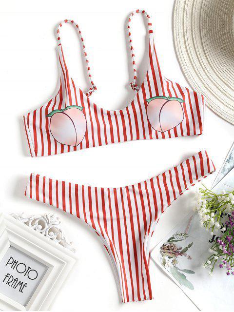 shop Striped Peach Print Bikini Swimwear - RED WITH WHITE S Mobile