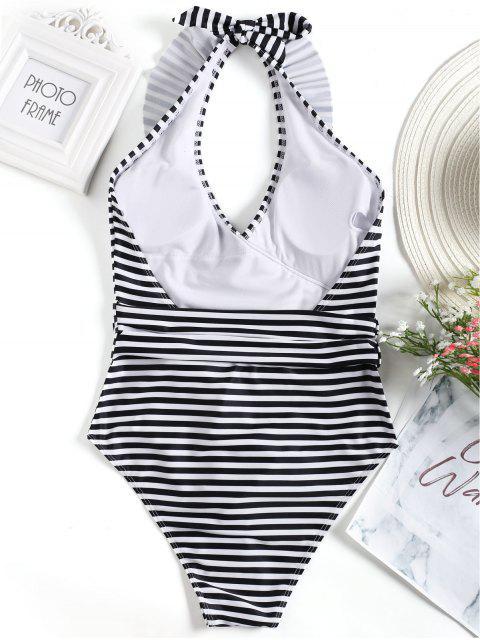 Traje de baño de rayas alto con lazo a rayas - Blanco y Negro L Mobile