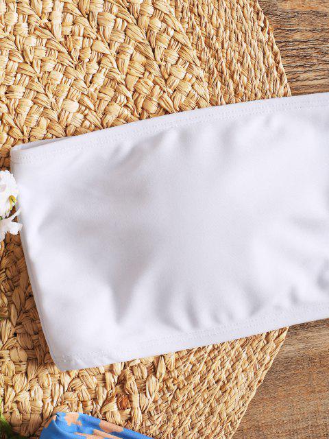 Bandeau Schwimmen Top und Hohe Schlitz bedruckte Badehose - Weiß L Mobile
