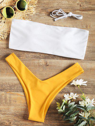 Two Tone High Cut Bikini Swimwear - Yellow L