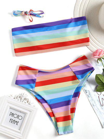Colorful Bandeau High Cut Bikini Set - M