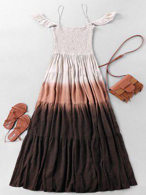 Bohemian Ombre arruga vestido con gradas Maxi