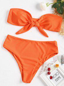 Tie-front Bandeau Bikini Set - البرتقال الفلورسنت S