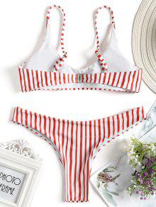 c62b57a157 45% OFF  2019 Striped Peach Print Bikini Swimwear In RED WITH WHITE ...