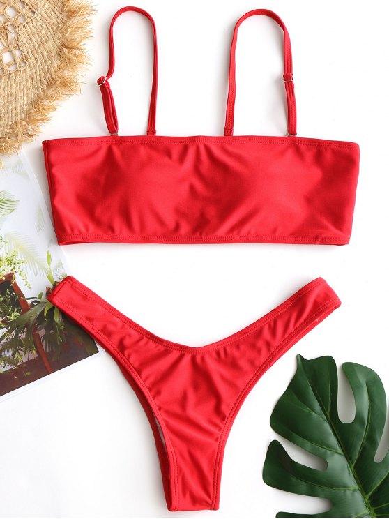 fashion Scrunch Butt High Cut Bikini Set - RED S