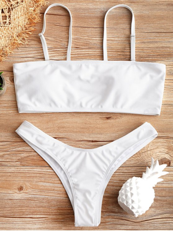 affordable Scrunch Butt High Cut Bikini Set - WHITE S