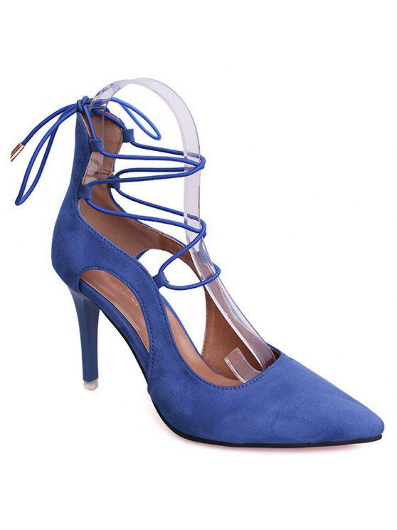 unique Mini Heel Pointed Toe Pumps - BLUE 39