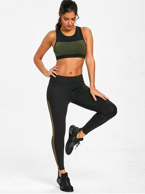 buy Padded Racerback Sports Bra - ARMY GREEN L