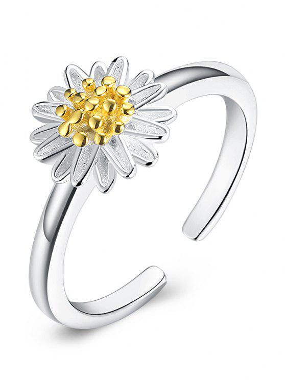 fancy Simple Sterling Silver Daisy Cuff Ring - SILVER ONE-SIZE