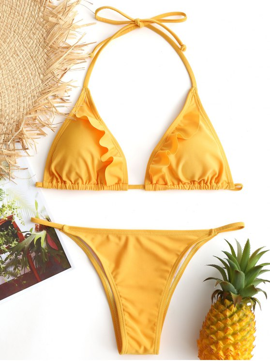 chic Frilled String Bikini Set - YELLOW L