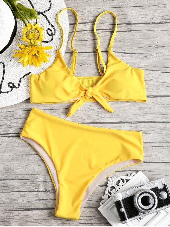 fancy Knot Padded Bikini Set - YELLOW L