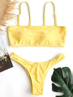 Enge Hintern Hohe Schlitz Bikini Set - Gelb M